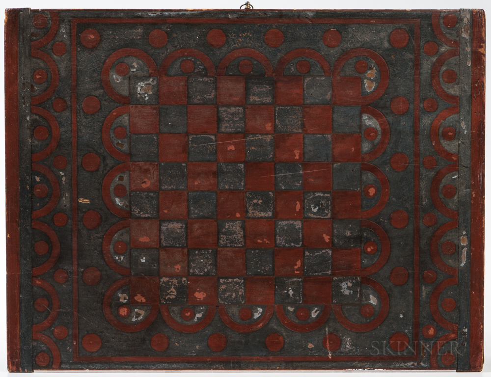 Two-sided Painted Parcheesi and Checkers Game Board