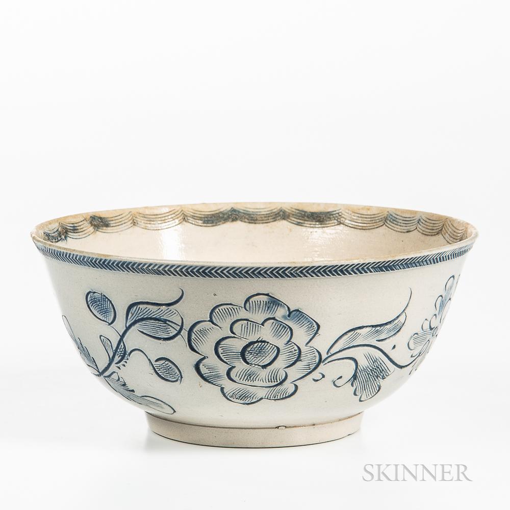 Staffordshire Scratch Blue Decorated Salt-glazed Stoneware Bowl
