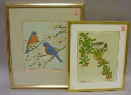 Two Framed Maurice Bebb Color Etchings on Silk of Backyard Birds