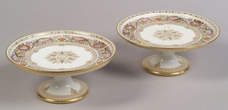 Pair of Sevres Porcelain Compotes