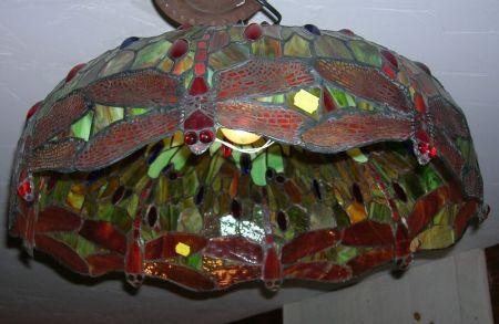 "Modern Art Nouveau ""Tiffany-style"" Jeweled and Leaded Slag Glass Hanging Lamp"