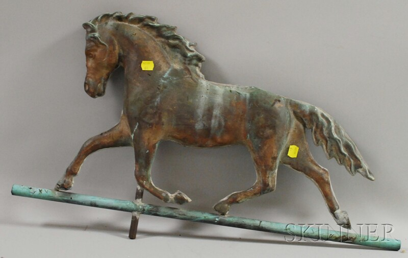 Patinated Molded Copper Full-body Running Horse Weather Vane