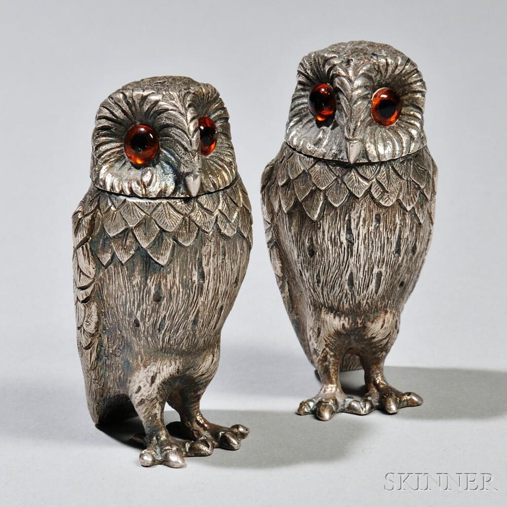 Pair of Elizabeth II Sterling Silver Owl-form Shakers