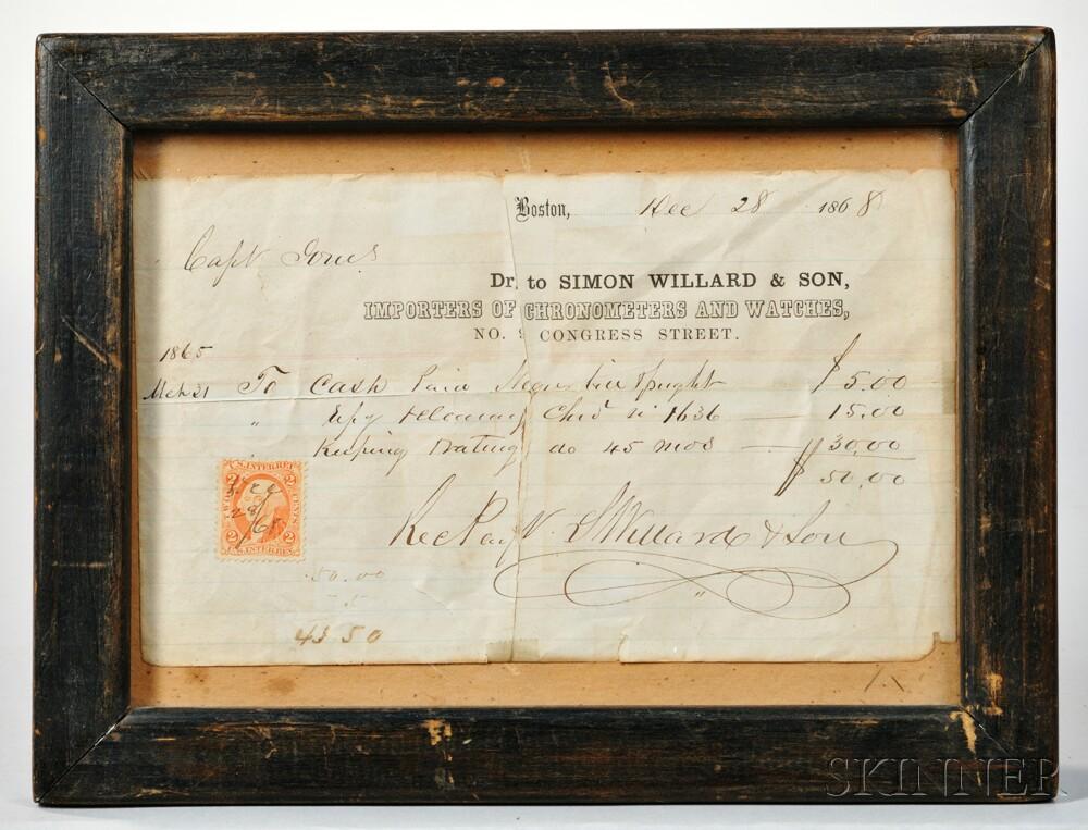 Simon Willard & Son Chronometer Timing Receipt