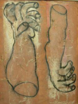 Large Framed Modern Oil of Two Hands