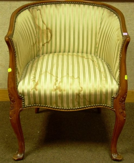 French-style Upholstered Barrel-back Chair.