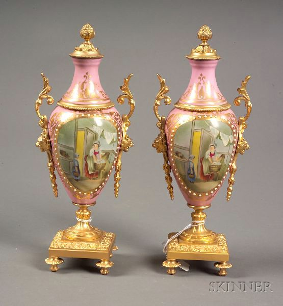 Pair of Louis XVI-style Porcelain and Gilt Metal Mounted Mantel Urns