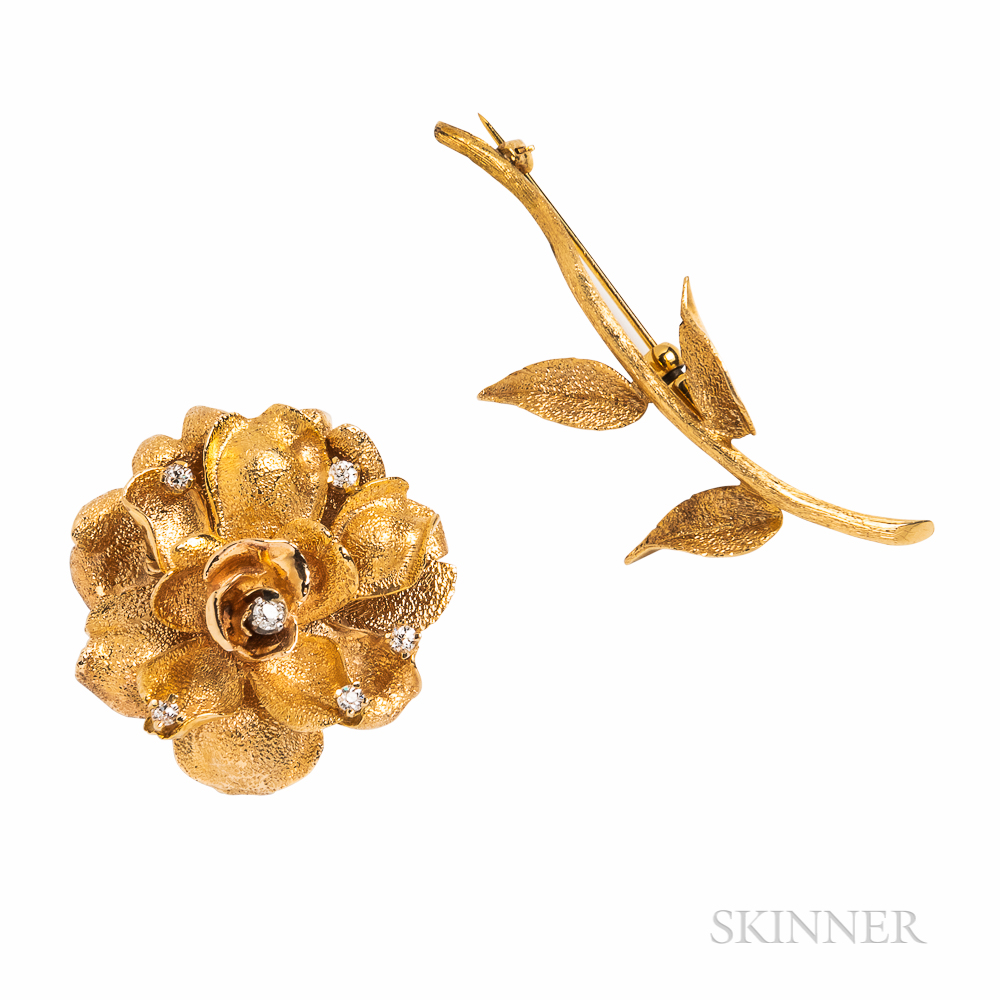 14kt Gold and Diamond Rose Brooch