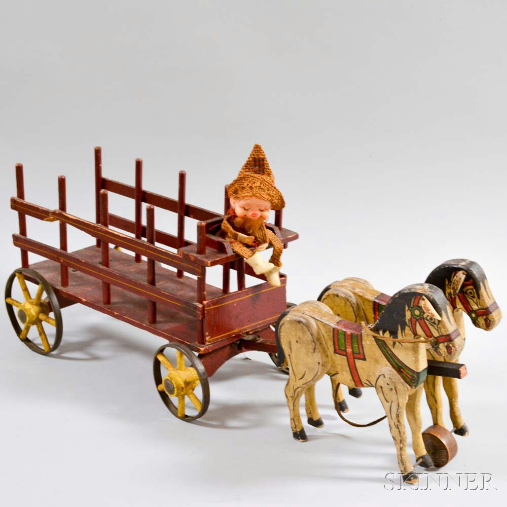 Paint-decorated Carved Wood Horse-drawn Cart