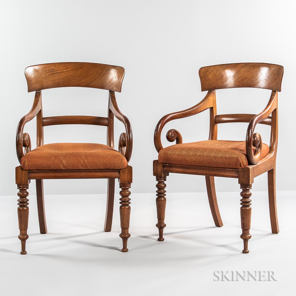 Pair of Regency Mahogany Open Armchairs