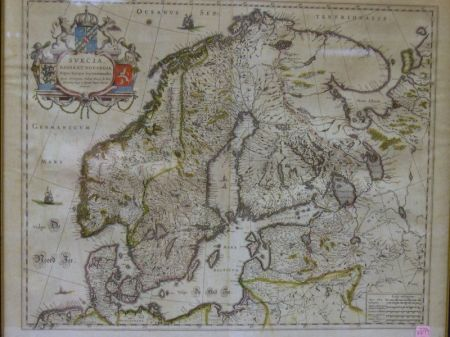 Framed Hand-colored Map of Scandinavia
