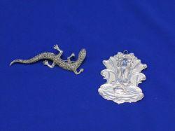 British Silver Art Nouveau Pendant and a Marcasite Lizard.