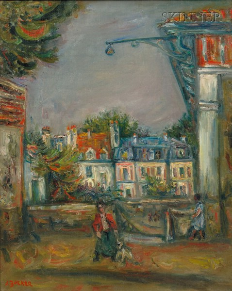Jacques Zucker (American, 1900-1981)      Figures on a Village Street
