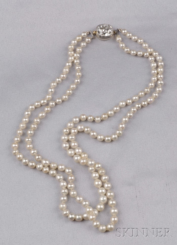 Antique Double-Strand Pearl and Diamond Necklace, Black, Starr & Frost