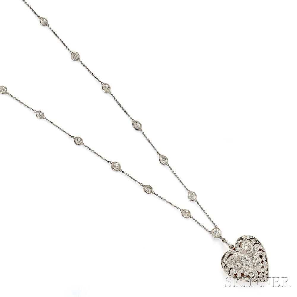 Edwardian Diamond Heart Pendant/Brooch