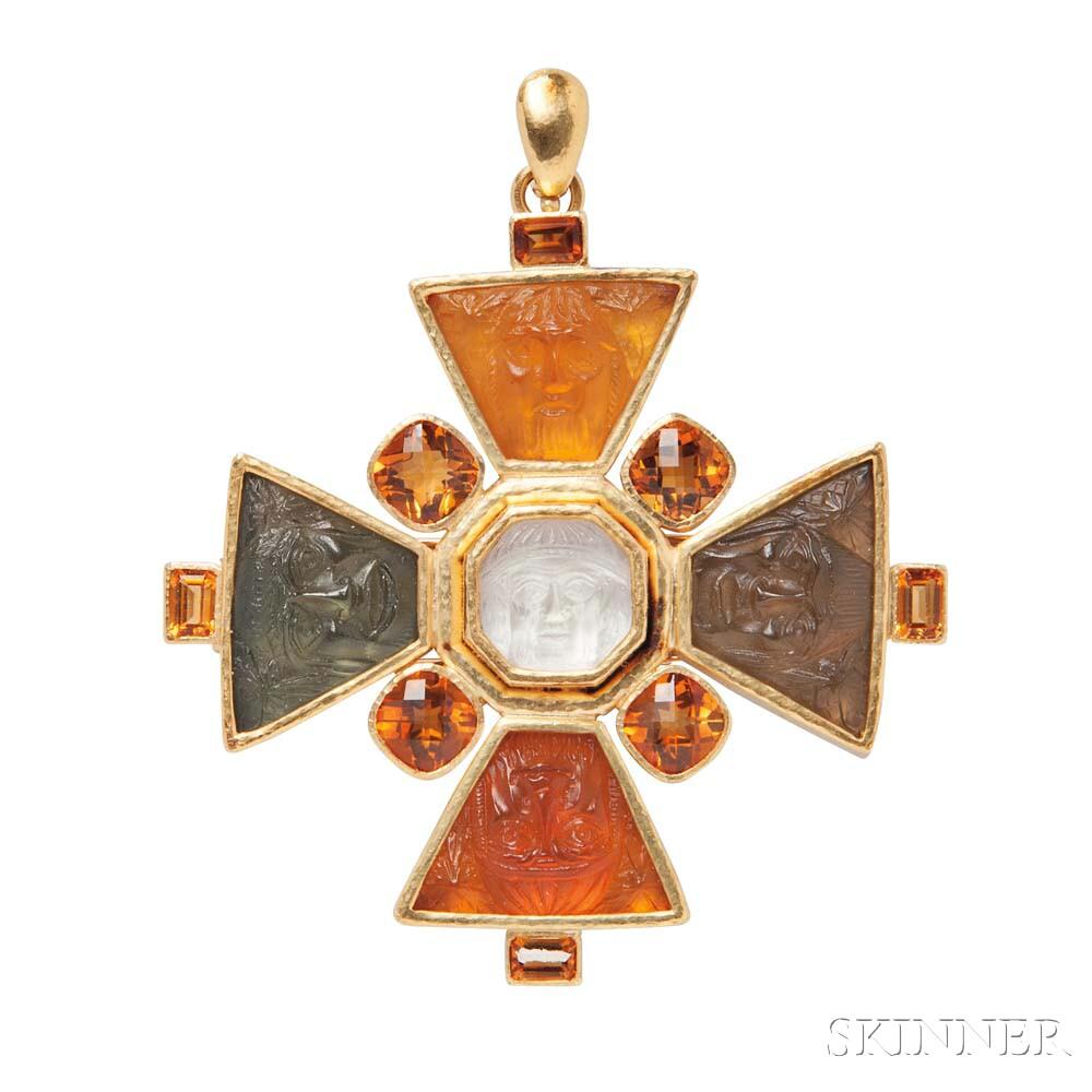 """19kt Gold and Venetian Glass """"Bomarzo"""" Pendant/Brooch, Elizabeth Locke"""