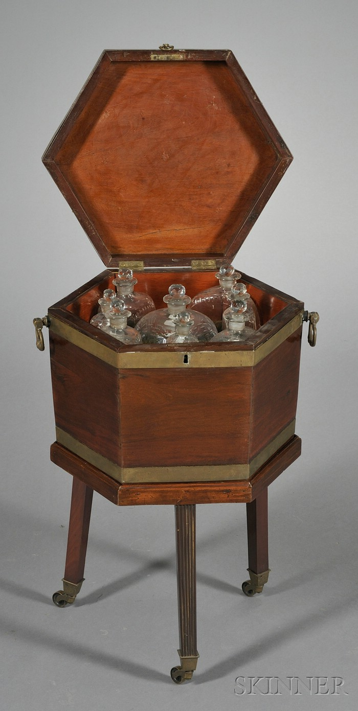 Fine George III Mahogany and Brass-bound Cellarette with Full Set of Decanters