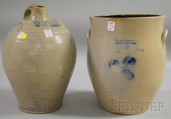 Ovoid Cobalt-decorated Stoneware Jug and Crock