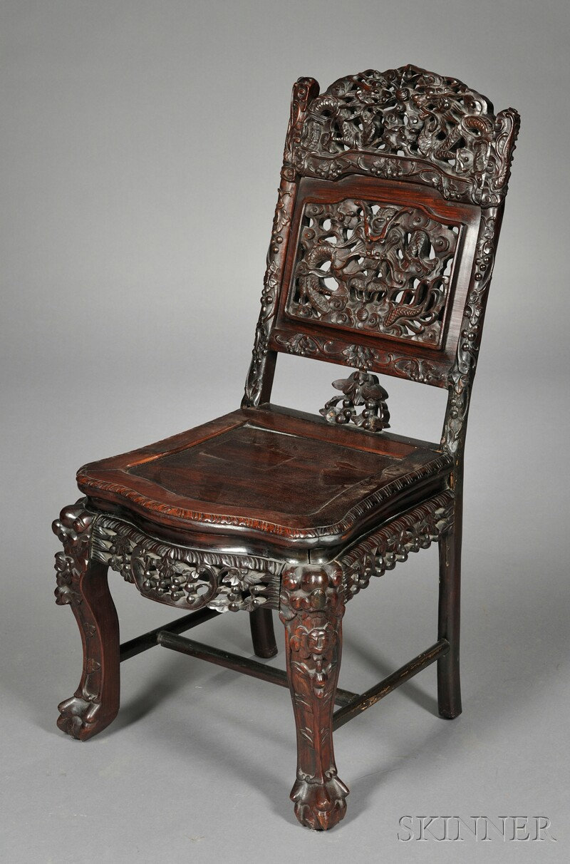 Chinese Carved Rosewood Side Chair