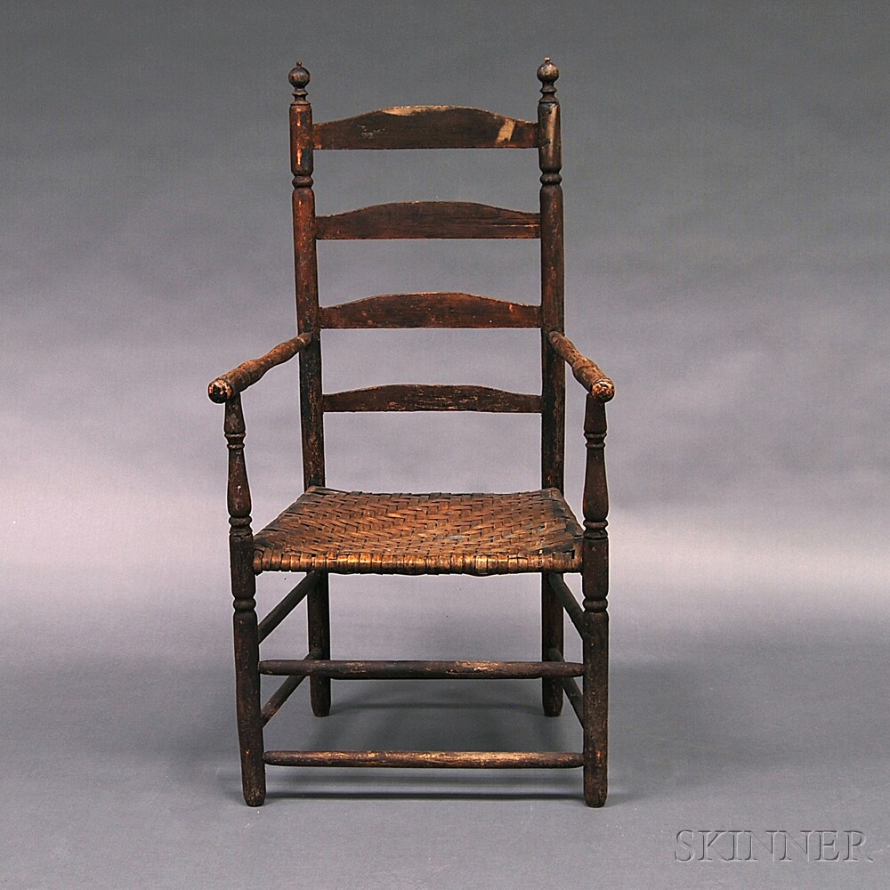 Brown-painted Slat-back Armchair