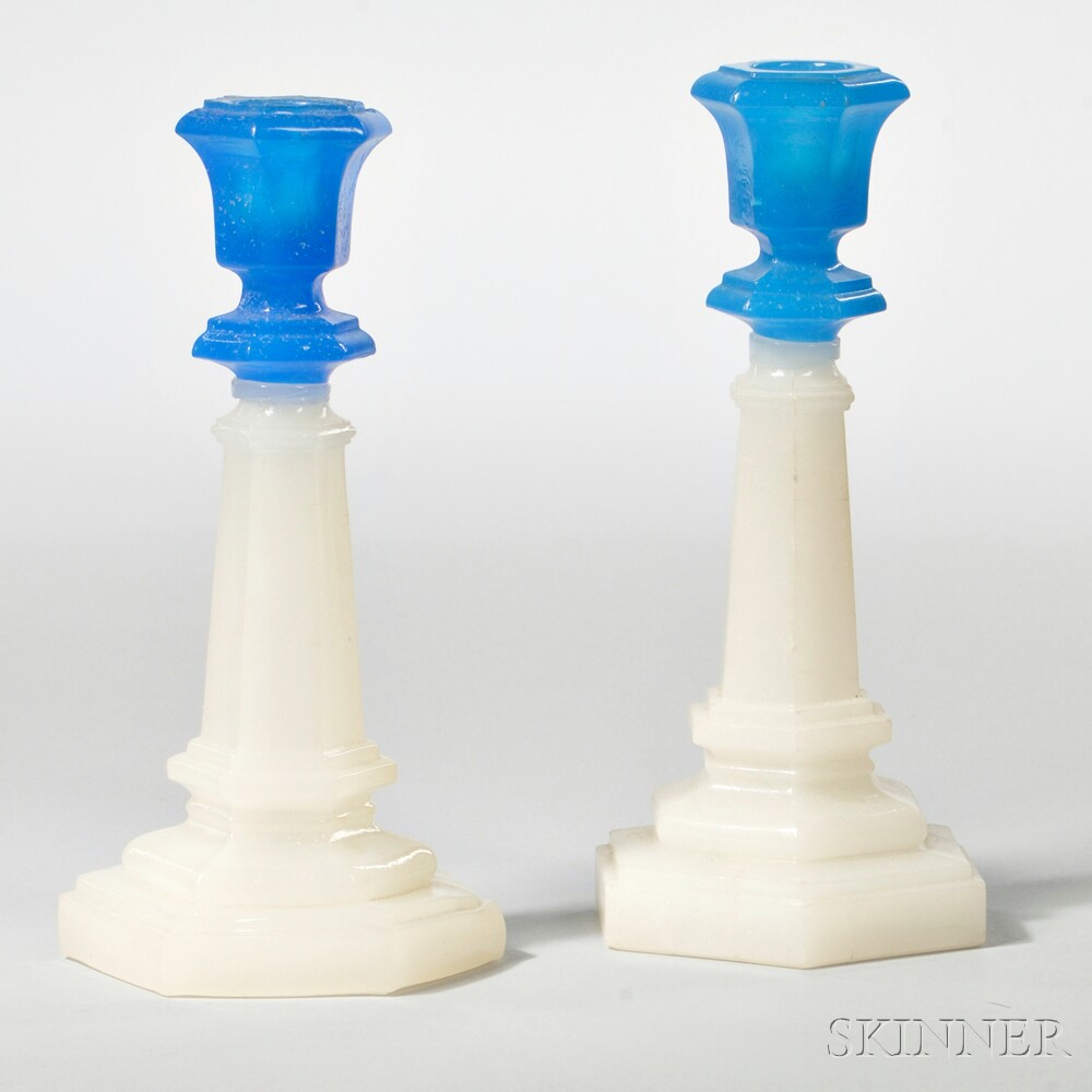 Pair of Blue and White Pressed Glass Columnar Candlesticks