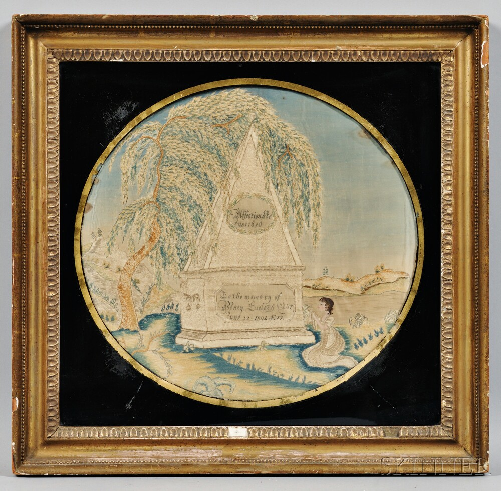 Watercolor and Needlework Memorial Picture