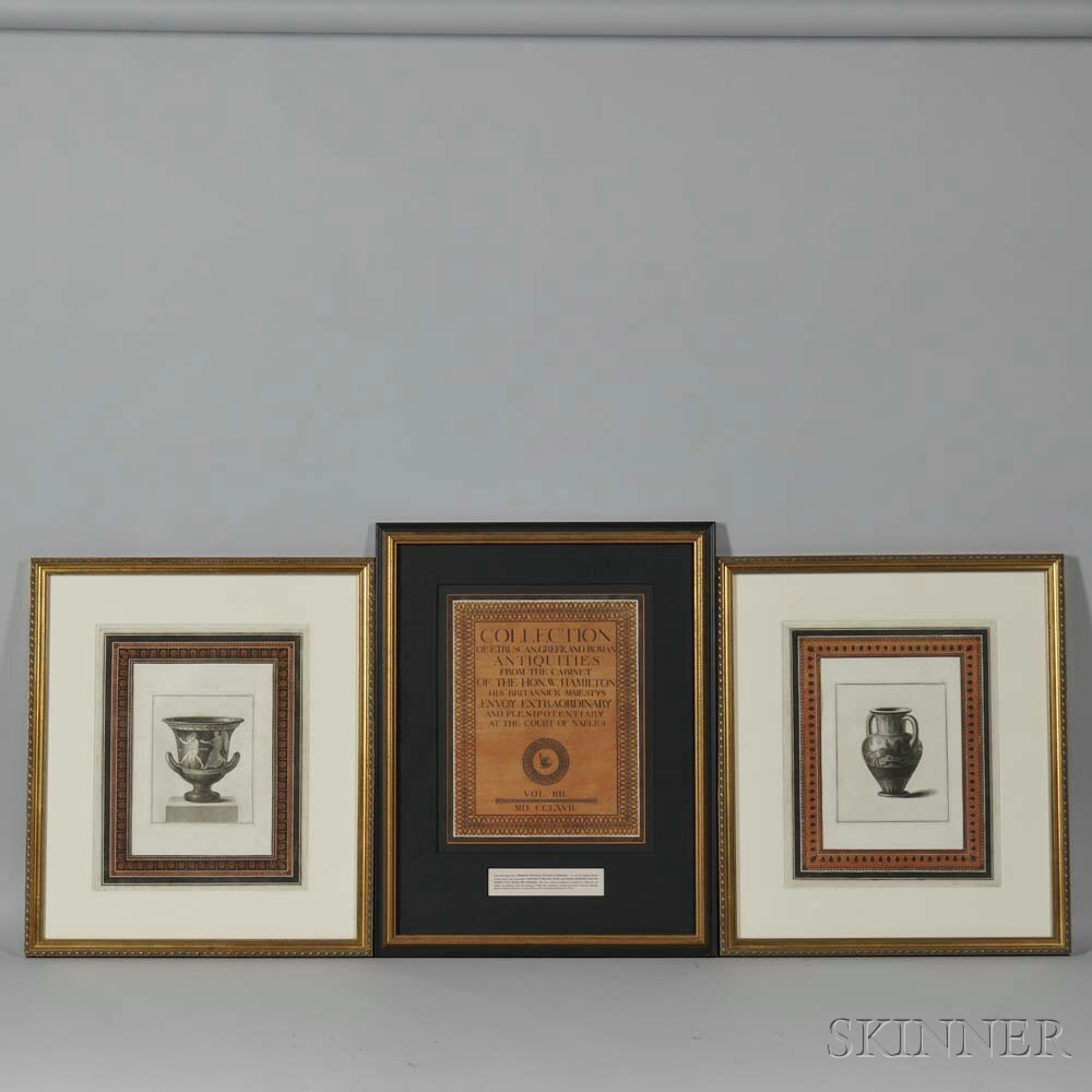 British School, 18th Century, Folio Title Page and Two Illustrations from Collection of Etruscan, Greek, and Roman Antiquities from the