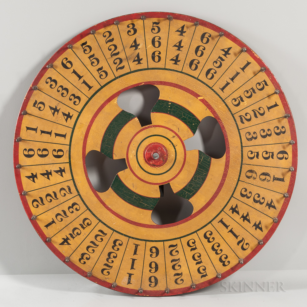 Large Yellow-painted Wheel of Chance