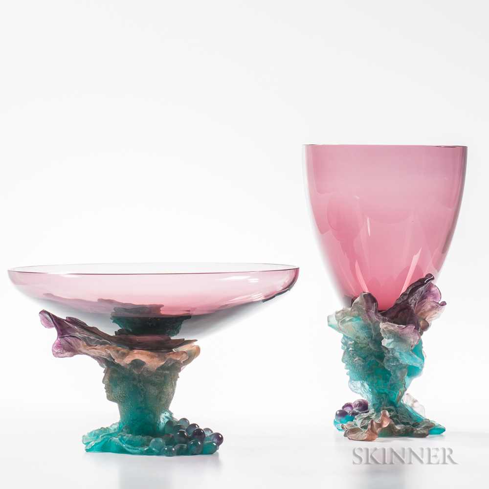 Daum Pate de Verre Art Glass Bacchus Centerpiece and Vase