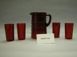 Fifteen-Piece Hobnail Cranberry Glass Lemonade Set.