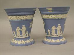 Pair of Wedgwood Light Blue Jasperware Bough Pots.