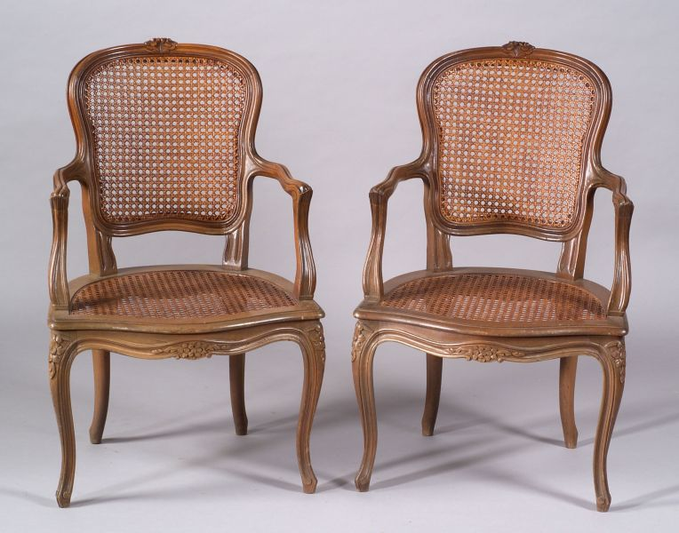 Pair of Louis XV Style Beechwood Caned Fauteuil en Cabriolet