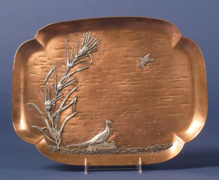 Gorham Aesthetic Movement Copper and Silver-mounted Dresser Tray