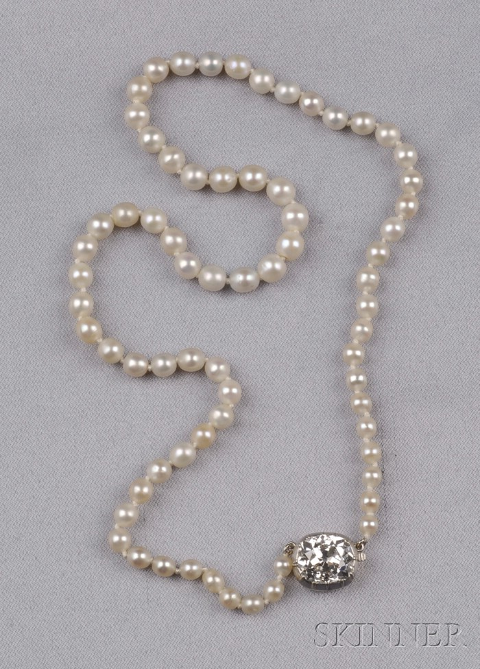Antique Natural Pearl and Diamond Necklace, Black, Starr & Frost
