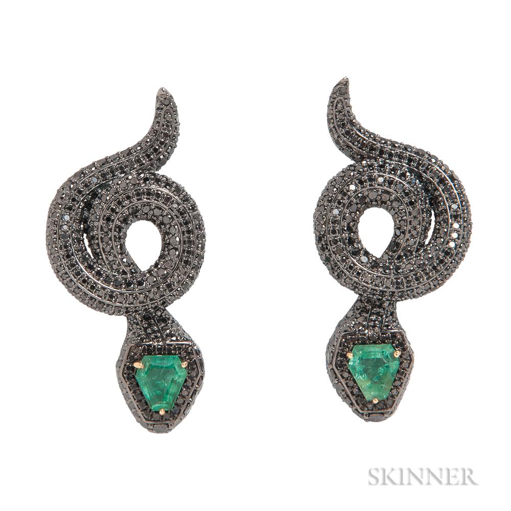 Black Diamond and Emerald Earrings