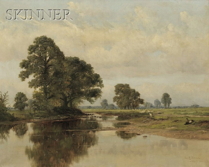 L. Clarence Ball (American, 1858-1915)      River View with a Resting Shepherd and His Grazing Flock
