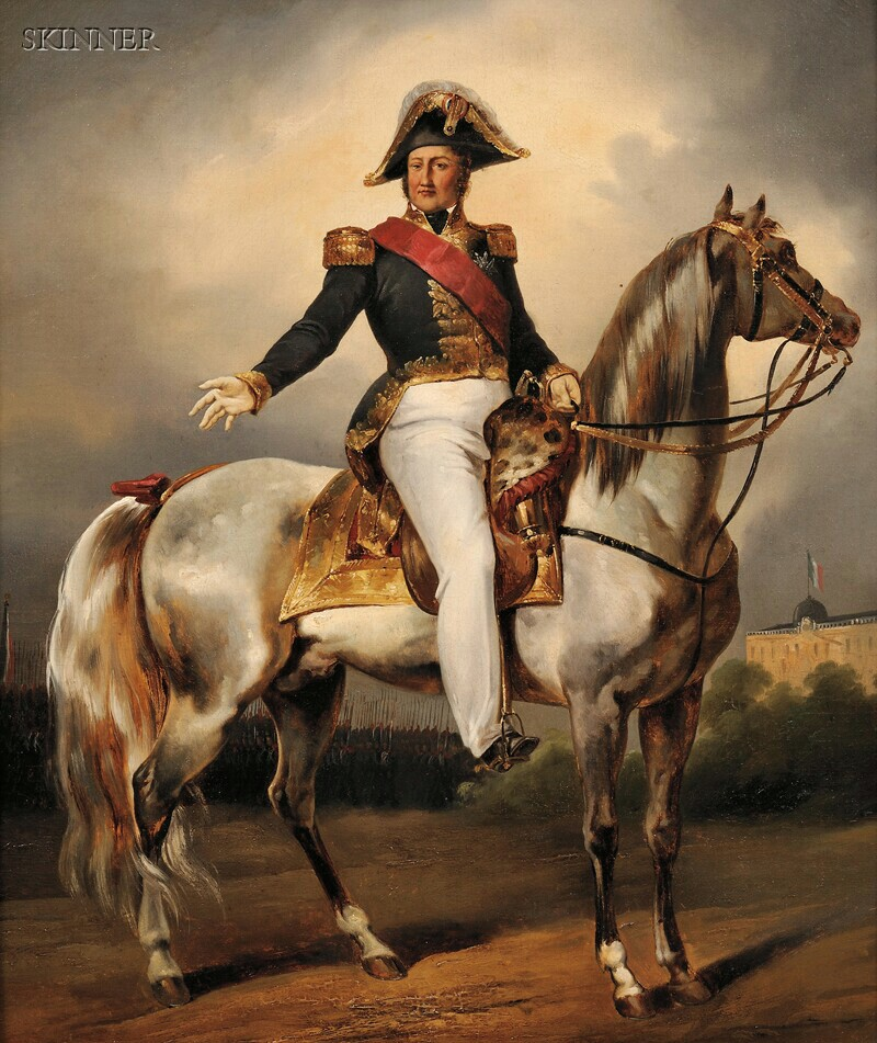 Eugène Louis Lami (French, 1800-1890)      Equestrian Portrait of Louis Philippe, King of the French