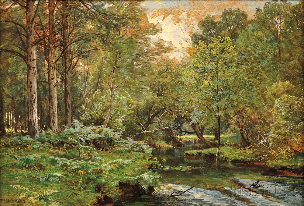 William Trost Richards (American, 1833-1905)      The Stream at the Forest's Edge