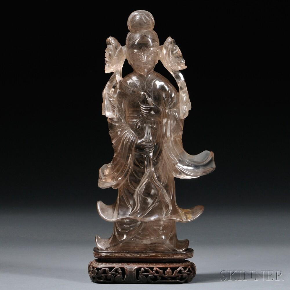 Smoky Quartz Figure of Guanyin