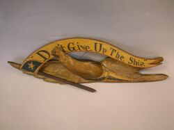 Bellamy-style Painted Gesso and Wood Eagle and Dont Give Up the Ship Banner Plaque.