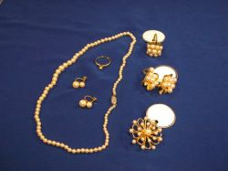 Group of Gold and Pearl Jewelry.