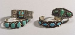 Four Southwest Silver and Turquoise Bracelets