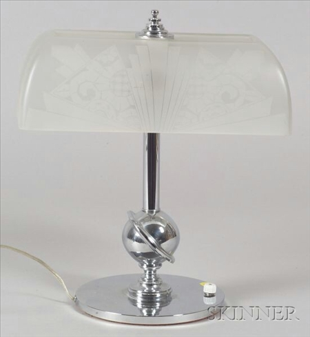 Art Deco Decorated Glass and Chrome Plated Table Lamp