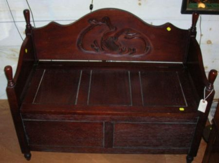 Modern Asian Hardwood Rabbit Carved Hall Seat