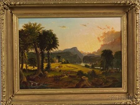 After Jasper Francis Cropsey (American, 1823-1900)    Hudson Valley Landscape.