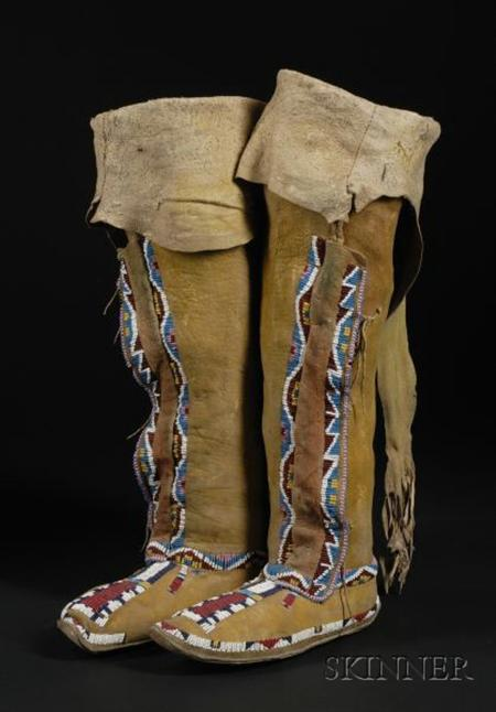 Southern Plains Beaded High-top Woman's Moccasins