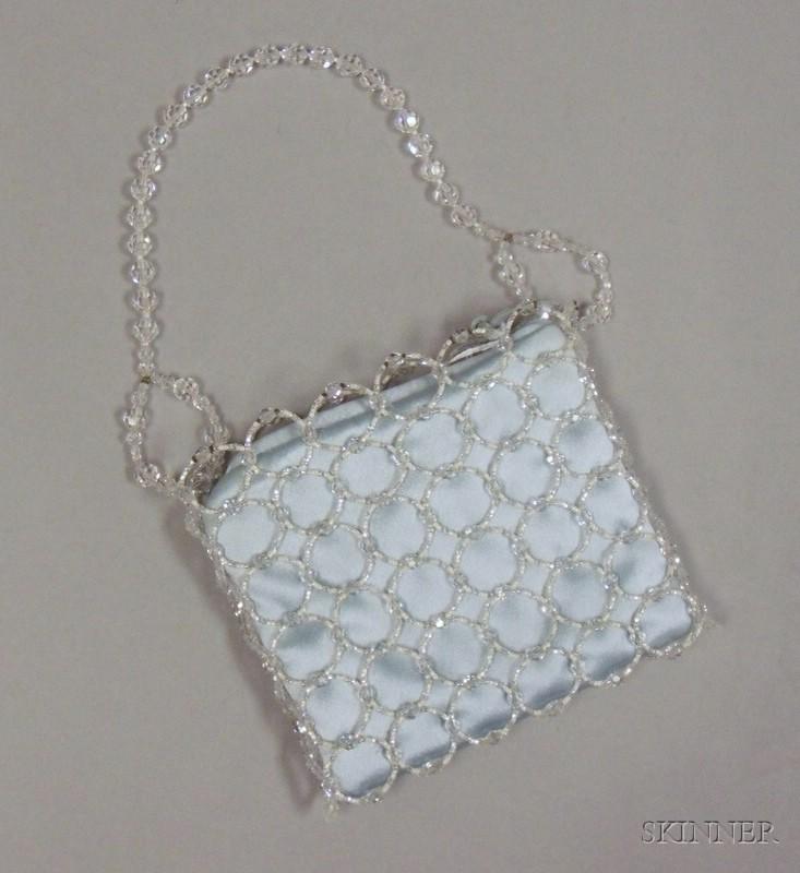 Daniel Swarovski Crystal and Blue Silk Evening Purse
