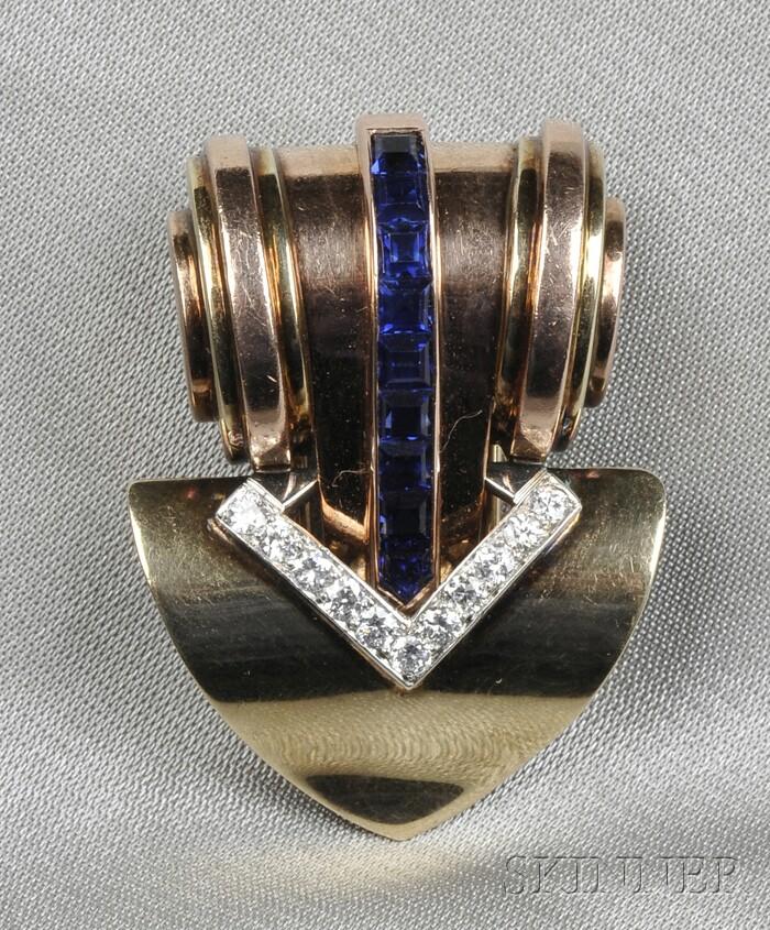 Retro Platinum, 14kt Bicolor Gold, Sapphire, and Diamond Dress Clip, Tiffany & Co.