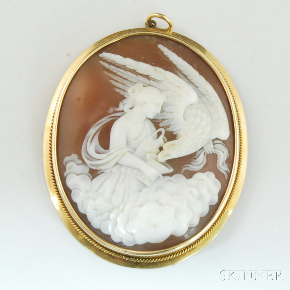 zeus and hebe cameo pendant  sale number t lot number   - zeus and hebe cameo pendant