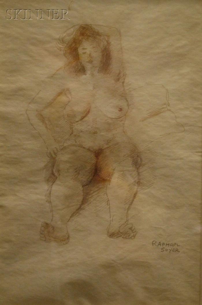 Raphael Soyer  (American, 1899-1987)      Portrait of a Reclining Nude
